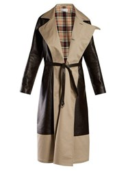 Balenciaga Bi Colour Tie Waist Leather And Canvas Coat Brown Multi