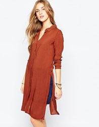 Pull And Bear Longline Shirt With Side Splits Red