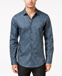 Inc International Concepts Men's Geo Jacquard Long Sleeve Shirt Only At Macy's Dark Slate