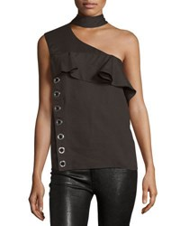 Cnc Costume National Mock Neck One Shoulder Top Cocoa