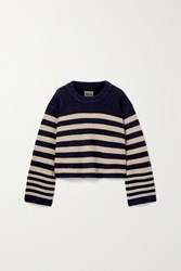 Khaite Dotty Cropped Striped Cashmere Sweater Navy