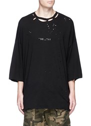 Unravel Logo Print Ripped T Shirt Black