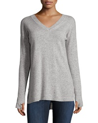 Philosophy Cashmere Cashmere V Neck High Low Sweater Flannel Bl