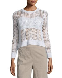 Theory Krezia B Iras Crocheted Knit Cropped Sweater White Mix