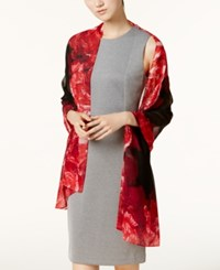 Calvin Klein Floral Border Chiffon Scarf Rouge Red