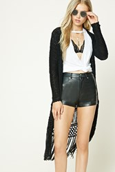 Forever 21 Open Knit Fringed Cardigan Black