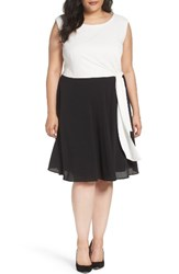 Tahari Plus Size Women's Colorblock Side Tie Fit And Flare Dress