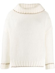 Twin Set High Neck Jumper White
