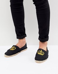 Asos Design Espadrilles In Black Canvas With Crown Embroidery