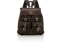 Fontana Milano 1915 Leather Trimmed Expandable Backpack Brown