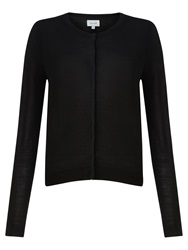 Jigsaw Merino Wool Crew Neck Cardigan Black