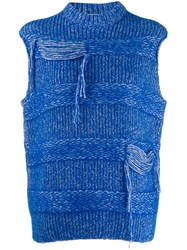 Mrz Distressed Knitted Gilet Blue