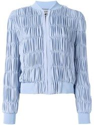 Versace Ruched Bomber Jacket Blue