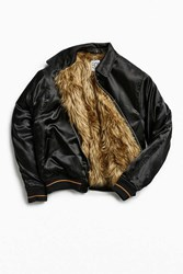 Urban Outfitters Uo Satin Faux Fur Lined Bomber Jacket Black