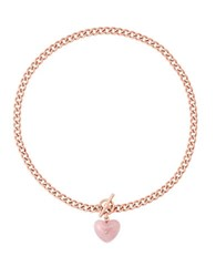 Michael Kors Carved Heart Quartz And Cubic Zirconia Rose Goldtone Necklace