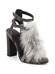 Brunello Cucinelli Fox Fur And Monili Trim Leather T Strap Sandals Grey