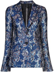 Vera Wang Chain Embroidered Blazer Blue