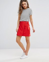 New Look Wrap D Ring Mini Skirt Bright Red