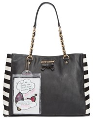 Betsey Johnson Tote With Patches Black