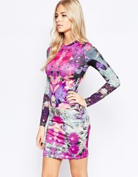 Girls On Film Bodycon Mini Dress In Digital Mirror Print Multi