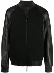 Giuseppe Zanotti Mixed Fabric Biker Jacket Black