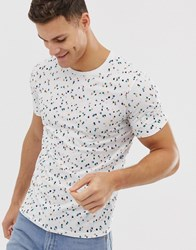 Selected Homme Geometric Printed T Shirt In Navy White