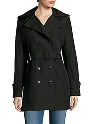 Calvin Klein Solid Double Breasted Trench Coat Black