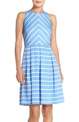 Women's London Times Pleated Stripe Knit Fit And Flare Dress