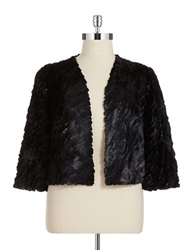 Marina Plus Sequined Faux Fur Bolero Jacket Black