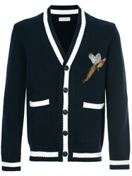 Gieves And Hawkes Bird Embroidered Cardigan Blue