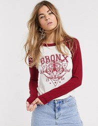 Brave Soul Front Print Long Sleeve Tshirt With Contrast Sleeves Cream