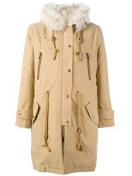 Sea Fur Trimmed Parka Nude And Neutrals