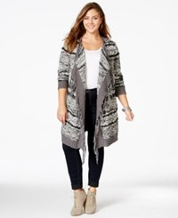 American Rag Plus Size Open Front Fringed Cardigan Only At Macy's Classic Black Combo