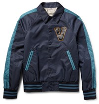Valentino Leather Appliqued Shell Varsity Jacket Navy