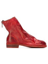 Guidi Distressed Flat Boots Red