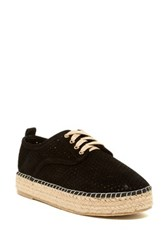Catherine Malandrino Semi Perforated Lace Platform Espadrille Black