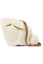 Loewe Bunny Leather Trimmed Shearling Shoulder Bag White