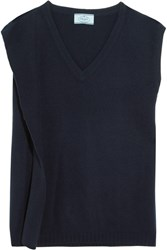 Prada Draped Wool And Cashmere Blend Sweater Midnight Blue