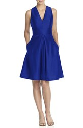 Women's Alfred Sung V Neck Dupioni Cocktail Dress Royal