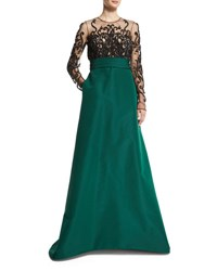 Pamella Roland Long Sleeve Illusion Filigree Embroidered Gown Emerald