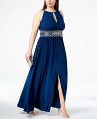R And M Richards Plus Size Sleeveless Beaded Gown Peacock