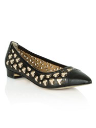 Daniel Queens Laser Cut Pointed Flat Shoes Black