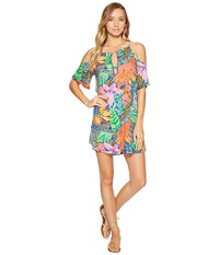 Trina Turk Tropic Escape Off Shoulder Tunic Cover Up Multi Women's Swimwear