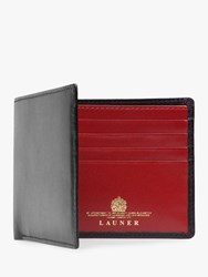 Launer Eight Card Leather Billfold Wallet Black Red