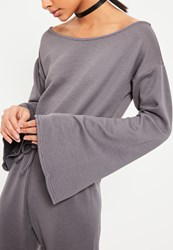 Missguided Grey Heavy Rib Off Shoulder Jumpsuit