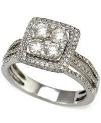 Macy's Diamond Square Halo Engagement Ring 1 1 2 Ct. T.W. In 14K White Gold