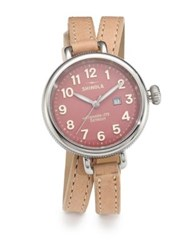 Shinola Birdy Stainless Steel And Leather Double Wrap Watch Winter White Pink Silver