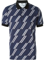 Msgm Stripe Print Polo Shirt Blue