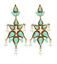 Oscar De La Renta Pearl Resin Chandelier Earrings Female Blue