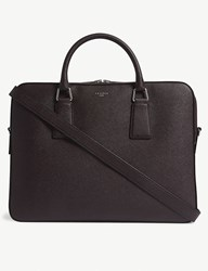 Sandro Downtown Large Saffiano Leather Briefcase Burgundy Red Black